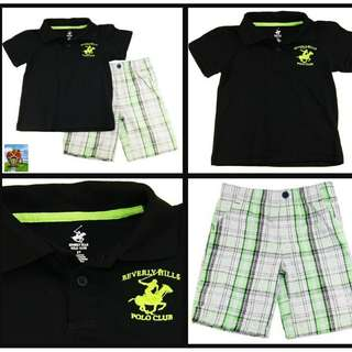 Beverly Hills Polo Club Black Shirt and Green Shorts Set