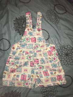 Girls Floral Overalls