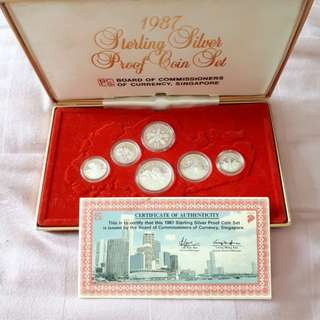 1987 Singapore Sterling Silver Proof Coin Set