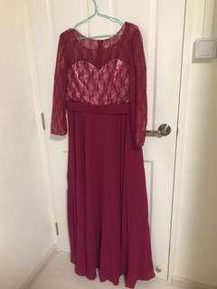 Long fuschia bridesmaid's dress