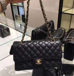 Chanel classic Flap 25.5cm medium 牛皮黑金