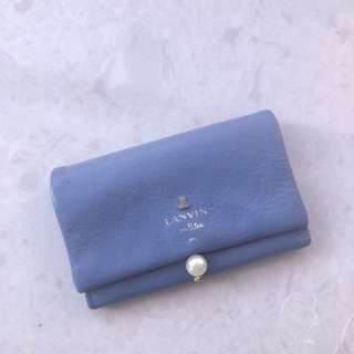 Designer Lanvin en bleu leather sky blue card holder with pearl design