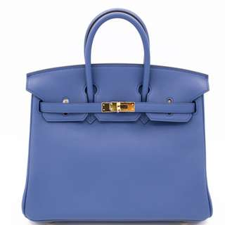 (NEW) Hermes BIRKIN SWIFT 25 TOTE BAG GHW, BLUE AGATE / CCR2 全新 手袋 藍色 金扣