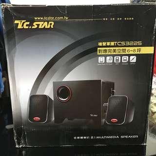 TCSTAR 黑色 三件式多媒體喇叭 TCS3225