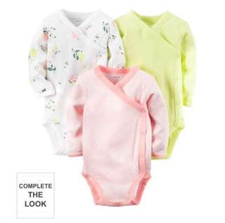*6M* Brand New Carter's 3-Pack Side Snap Bodysuits For Baby Girl