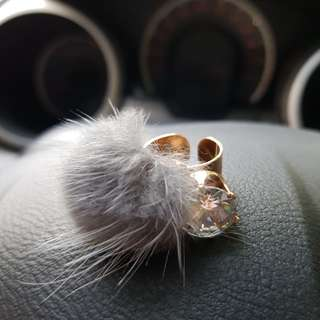 Furry ball gold ring with zircon stone