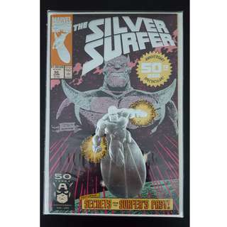 Silver Surfer #50 (1991) Special Anniversary Issue, Silver Embossed Cover (ICONIC!) - Direct Edition 1st Print (Infinity Gauntlet Prelude)