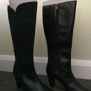 Black leather boots 8cm heel