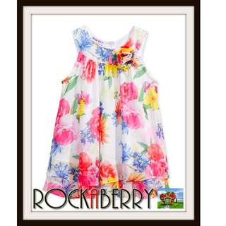 Blueberi Boulevard Chiffon Summer Floral Girl's Dress