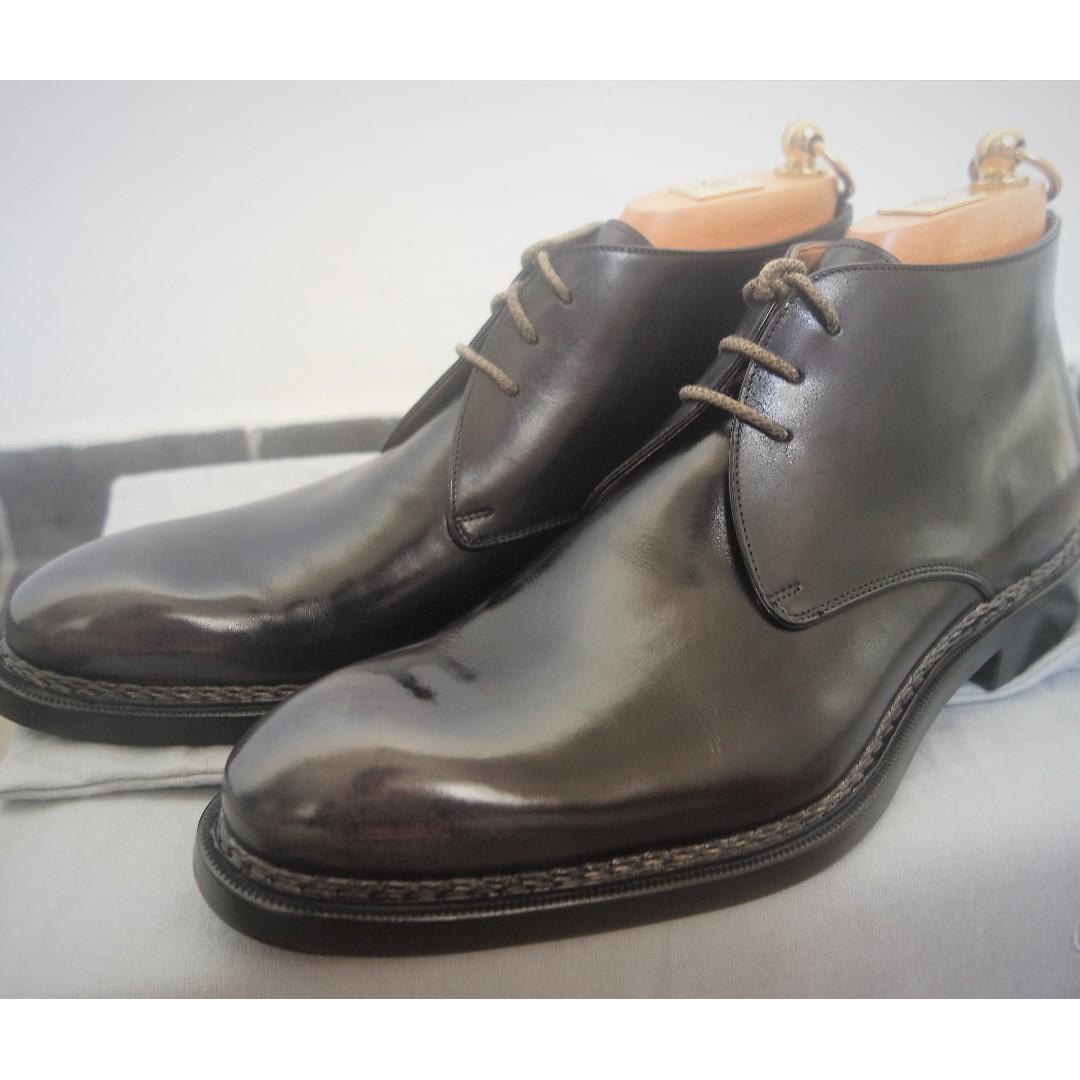 1400+] US9 Fratelli Giacometti, Burnished Black Grey Chukka