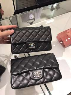 Chanel classic Flap mini 20cm 黑銀羊皮