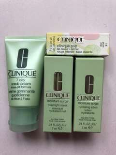 Clinique deluxe sized travel skincare scrub lotion mask