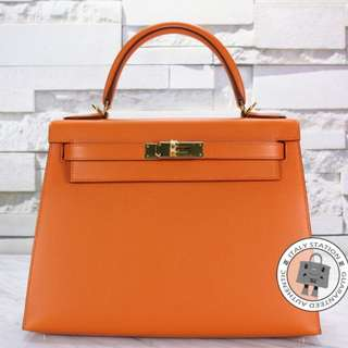 (NEW) Hermes SELLIER KELLY EPSOM 28 TOTE BAG GHW, ORANGE / CC93 全新 手袋 橙色 金扣