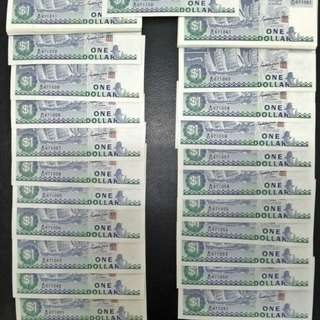 1 dollar note. Sequential running 100pieces