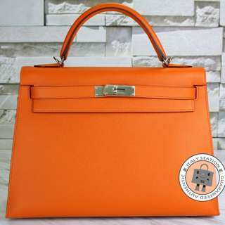 (NEW) Hermes SELLIER KELLY EPSOM 32 TOTE BAG SHW, ORANGE / CK93 全新 手袋 橙色 銀扣