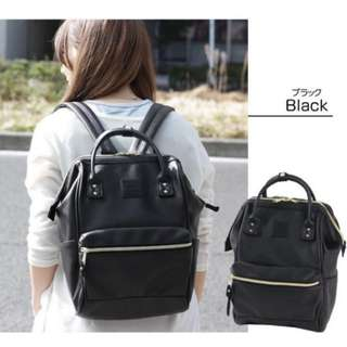 Authentic Anello Bagpack - Black Leather