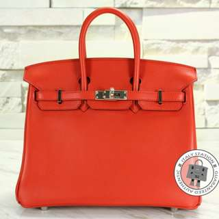 (NEW) Hermes BIRKIN SWIFT 25 TOTE BAG PHW, VERMILLON / CK5E 全新 手袋 紅色 銀扣