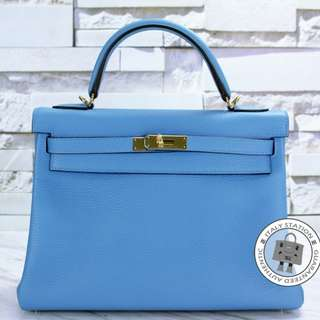 (NEW) Hermes KELLY KELLY TAURILLON CLEMENCE 32 TOTE BAG GHW, CC2T / BLUE PARADISE 全新 手袋 藍色 金扣