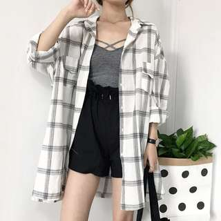 Checkered Plaid Pockets Designed Loose Outerwear Top