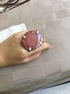 Brand new Agate red slab statement large ring (adjustable band)