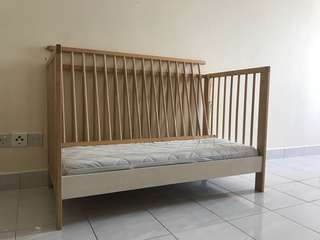 Ikea gulliver baby cot with ikea mattress