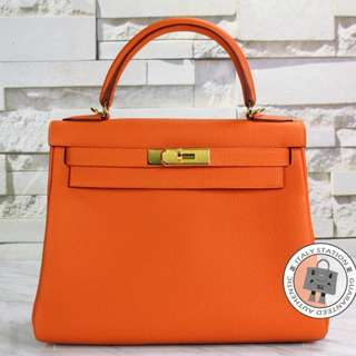 (NEW) Hermes RETOURNE KELLY TOGO 28 TOTE BAG GHW, ORANGE / CC93 全新 手袋 橙色 金扣