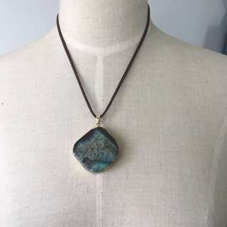 Brand new oceanic Agate slab pendent necklace