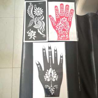 Instock Henna stencil Templates  can Be Used Many Times refer To 3rd N 4th Pic For Reference Tags:nike Roshe Run,camera#inai merah#naelofar#neelofar#Herschel#Stencil #Inai kuku merah#muslimah#Shawl#mehendi#Jubah#Bridal#Tattoo