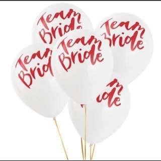 5pcs Team bride latex balloon