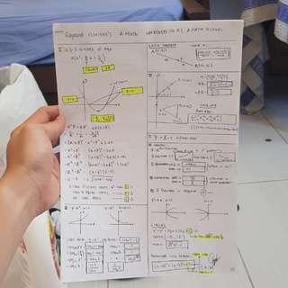 Handwritten Additional Mathematics o level notes