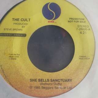 "The Cult, She Sells Sanctuary 7"" promo record vinyl"