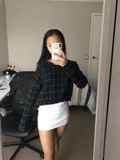 Black Cropped Plaid Jumper