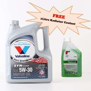 Valvoline Engine Oil - Fully Synthetic 5W30 SN/CF 4Litre SynPower *FREE 1L Radiator Coolant