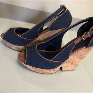 Charles and Keith Navy Blue Wedge