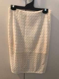 Seed Heritage Cream Lace knee length skirt