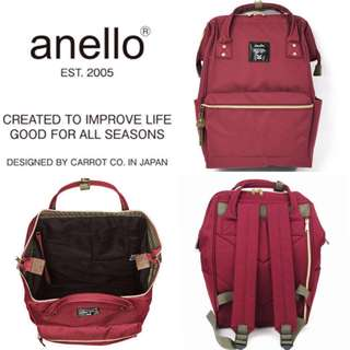 [BN] ANELLO Unisex Canvas Backpack (Large) | WINE