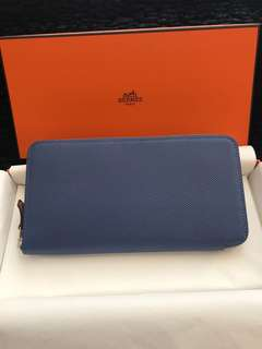 Hermes long silk in wallet Brighton Blue & 57 Bordeaux, Full set with shop copy receipt