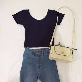 Navy Blue Lowback Top