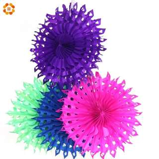 5pcs paper fans Color tissue for decoration 30cm