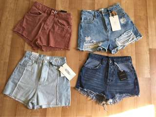 HALF PRICE NEW FACTORIE + COTTON ON high rise denim shorts