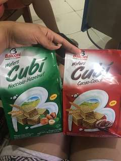 Cubi wafers hazelnut and cocoa flavor