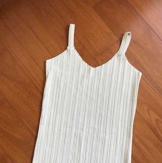 米色 肩帶直紋裙