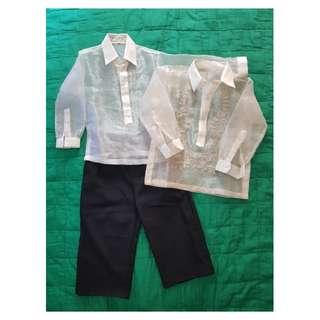 Boys barong set with inner shirt