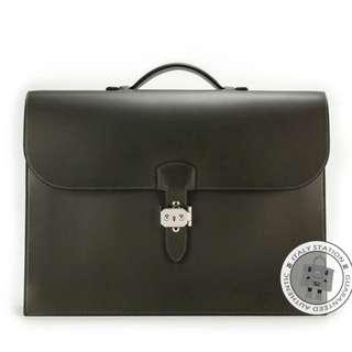 (NEW) Hermes SERVIETTE EVERGRAIN 41 BRIEFCASE PHW, VERT BRONZE 全新 手袋 黑色 銀扣