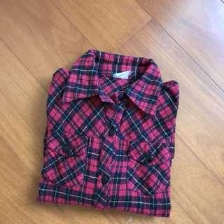 長 紅格襯衫
