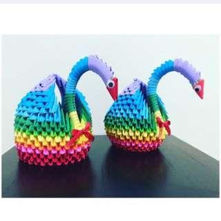 3D Origami - Rainbow Swan