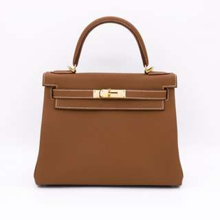 (NEW)Hermes RETOURNE KELLY TOGO 28 TOTE BAG GHW, GOLD / CC37 全新 手袋 啡色 金扣