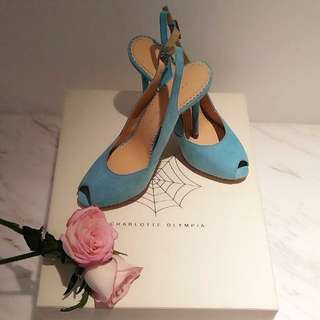 ⚠️代放 Charlotte Olympia pastel blue open toe pumps