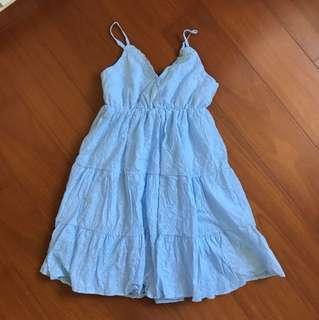 夏天水藍細肩洋裝