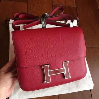 Constance石榴紅 琺琅扣 蜜蠟線半手縫。size:24